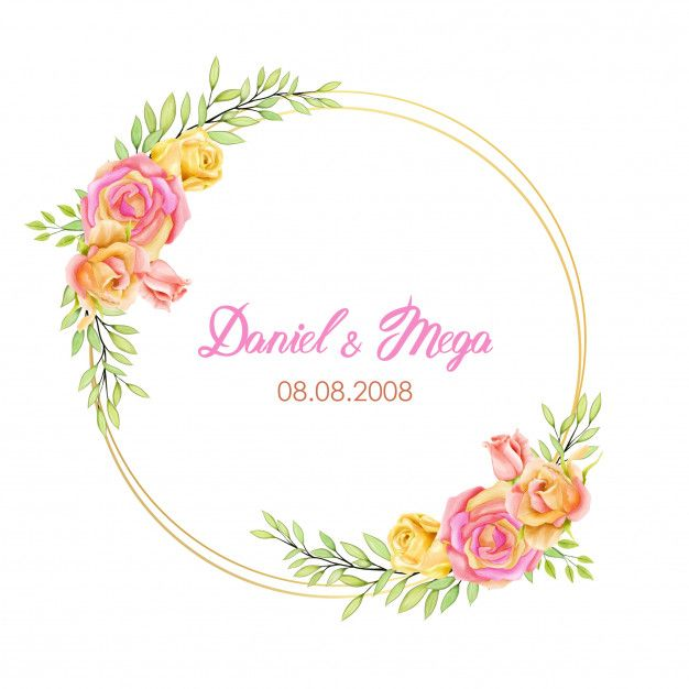 Elegant Frame Wedding Invitation With Watercolor Flowers In 2020