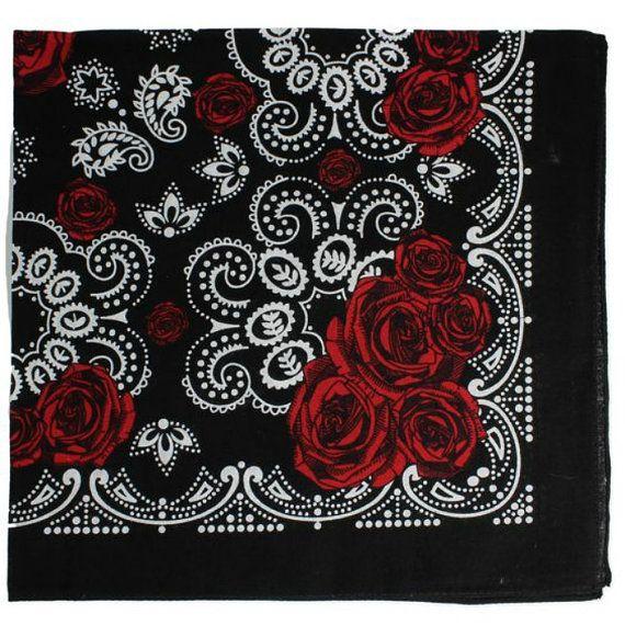 Vintage Rose Bandana, Black/ Red Rose Bandana, Motorcycle Bandana, Boho Festival Style