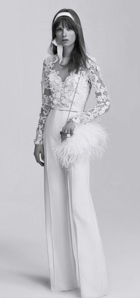 Unique long-sleeve lace detail jumpsuit wedding dress; Featured Dress: Elie Saab http://bellanblue.com