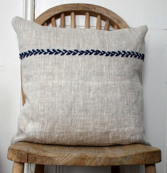 simple rustic linen country cushion (pillow)