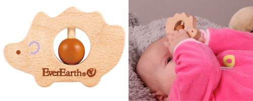 EverEarth Grasping Hedgehog This cute little wooden hedgehog grasping toy from the eco-friendly EverEarth is lovely for baby to hold, shake and even bite! – which all helps with baby's development skills. Also doubles as a teether.  Two colourful beads in the middle of the hedgehog for spinning & pushing up and down  Suitable for children birth upwards  Size: 9.4 x 1.2 x 6.3cm