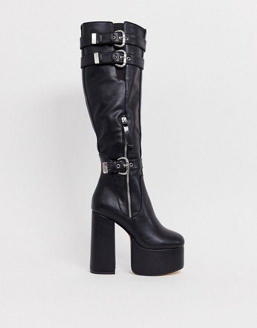 chunky platform knee high boots | ASOS