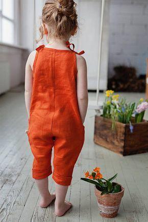 Sommer-Outfit, orange Leinen Overall, Vintage Overall, Babykleidung, Baby Strampler, Leinen K…