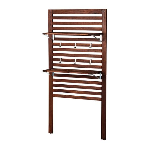 """ÄPPLARÖ Wall panel with shelves from IKEA - 31.5""""w x 11.75""""d x 62.25""""h  Put in corner of patio for storage and a growing vine."""