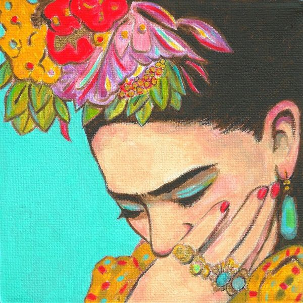 SALE 50% off Frida Kahlo Thinks -Signed Print. Mexican Folk Art Latin... ($13) ❤ liked on Polyvore featuring home, home decor, wall art, art, backgrounds, faces, people and face painting