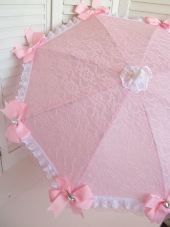 Pink and White Lace Parasol with matching Hair Bow by ZosaDesigns, $24.99