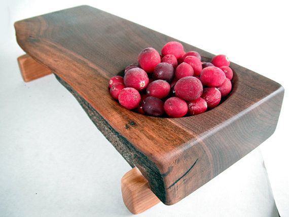 RECLAIMED thick black walnut CARVED BOWL serving/cutting board