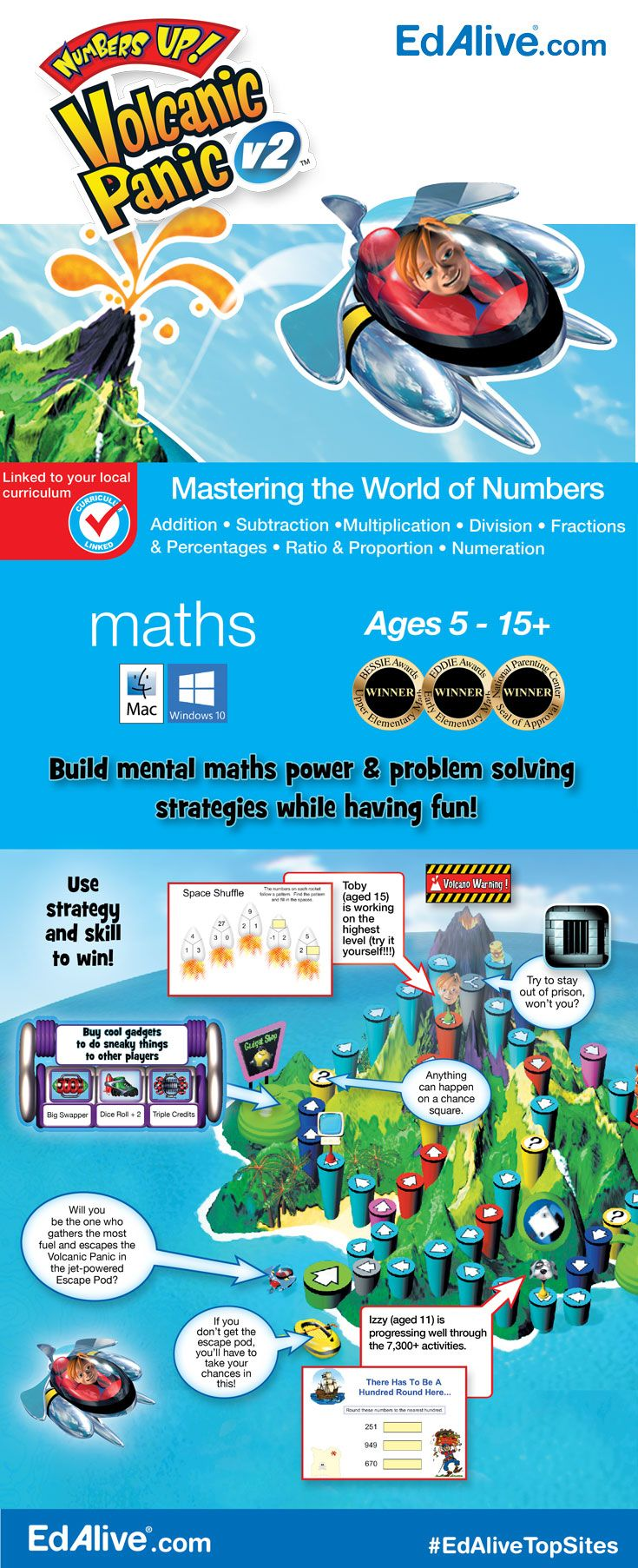 Build mental maths power & problem solving strategies | Master the world of numbers and outwit your competitors in this exciting single and multiplayer game! With powerful diagnostic and reporting capabilities, this curriculum-rich board game adventure will zero in on your child's learning needs. They will master numeration, fractions, percentages, ratio and proportion skills! #Mathematics #EdAliveTopSites
