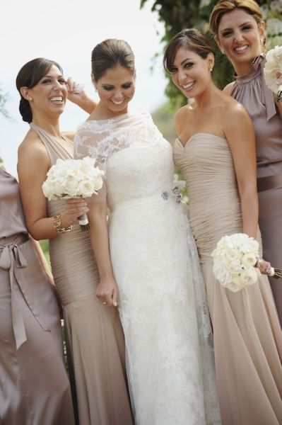 Champagne Bridesmaids. Different shades and fabrics of the same color still look fab! Even better I think!
