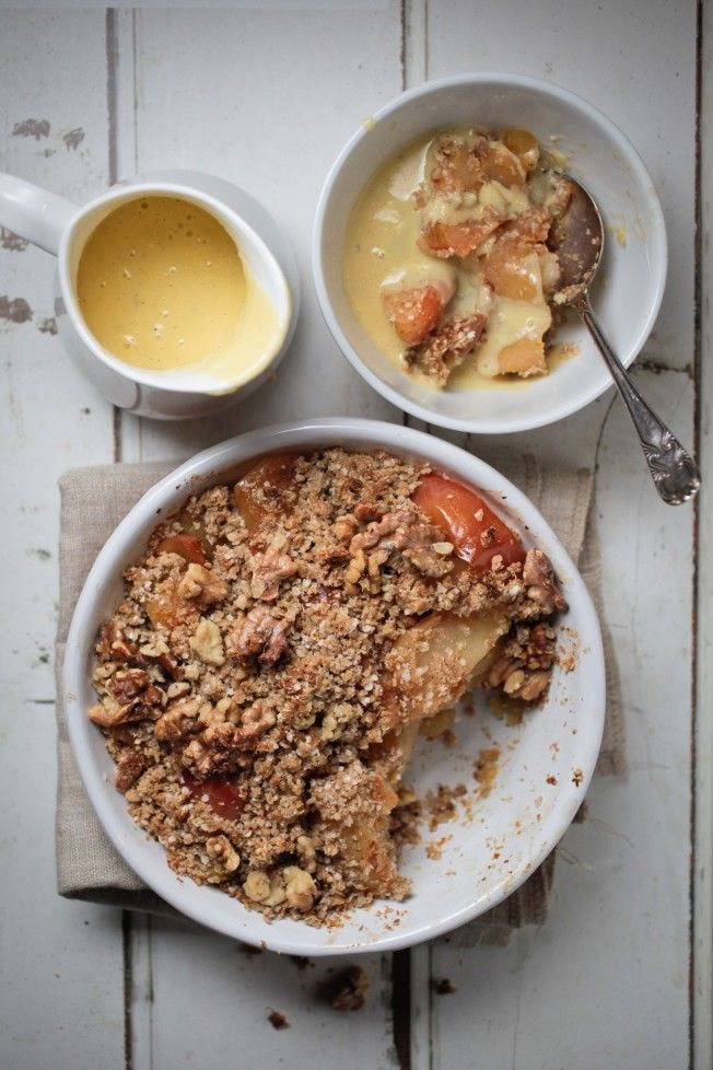 Apple Crumble // The Healthy Chef.  Made as follows and YUM!!  * 1 cup oats, half cup almond meal * Addition of raspberries and macadamia nuts  * Peel apples in future *