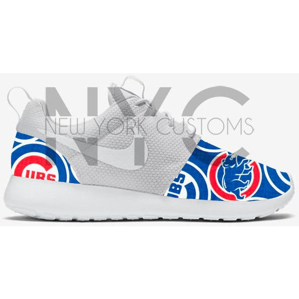 Baseball Nike Roshe Run Triple White Custom (Chicago Cubs Toronto Blue... ($180) ❤ liked on Polyvore featuring shoes, athletic shoes, blue, sneakers & athletic shoes, tie sneakers, unisex adult shoes, baseball footwear, tie shoes, unisex shoes and blue white shoes