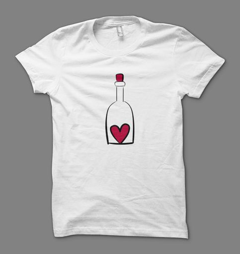 Heart in a wine bottle T shirt  T shirt for wine lover