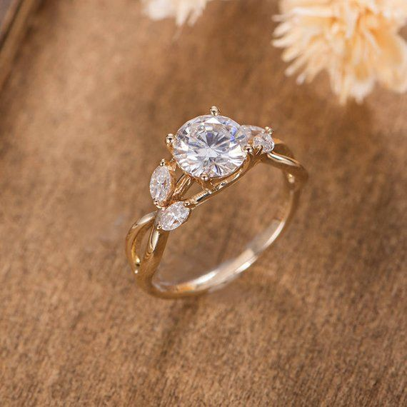 Moissanite Engagement Ring Yellow Gold Vine Leaf Infinity Band Unique Antique Bridal Wedding Women Anniversary Gift Solitaire Forever One