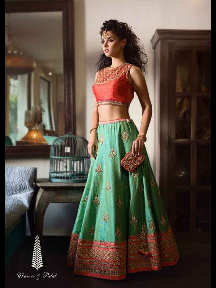 Chamee & Palak Mint Green #Lehenga With A Peach #Blouse.