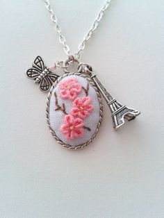 Spring time in Paris  hand embroidered pendant necklace