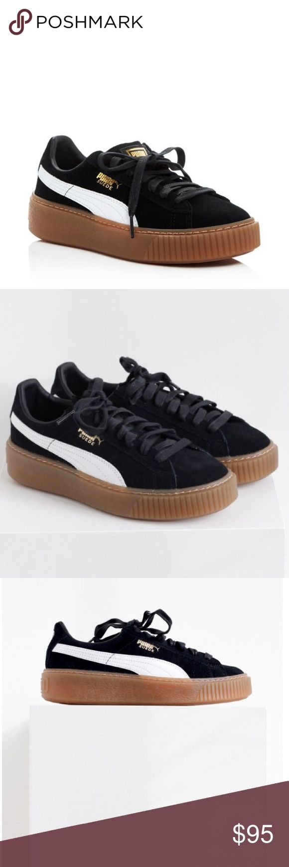 BRAND NEW Puma Platform Sneakers Black PUMA Suede Platform Core Sneaker. New and never worn with box :) Cheaper @ merc. Puma Shoes Sneakers