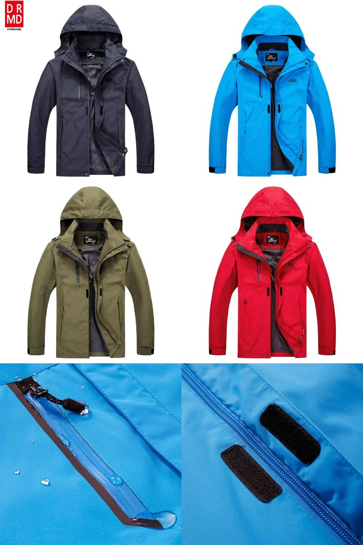 [Visit to Buy] Outdoor Travel Rain Jacket Men Camping Hiking Jacket Plus size Waterproof Solid Gray Fishing Jacket Mountain Climbing Clothing #Advertisement