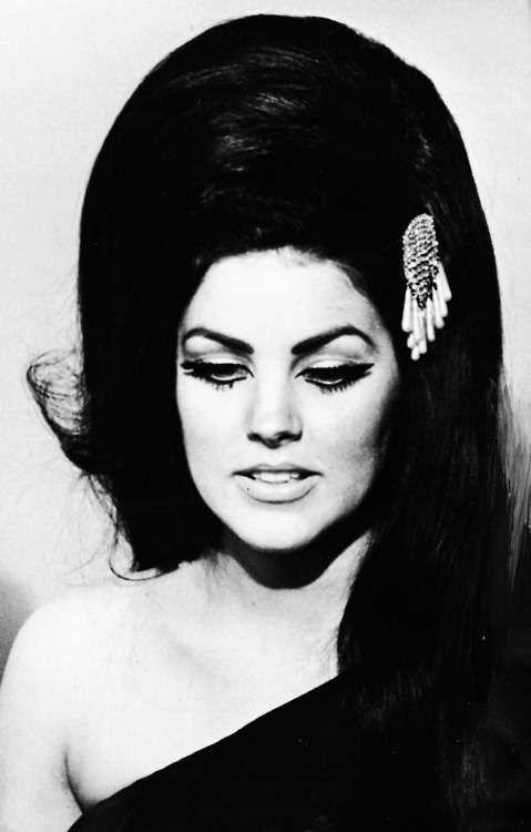 Young Priscilla Presley in a Black Evening Gown in Las Vegas.