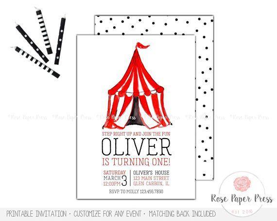 Circus Birthday Invitation Carnival Invitations Custom Theme