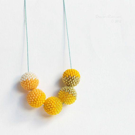 Yellow Halves Necklace Sunny Beaded Beads by SarahRobinL on Etsy, $40.00