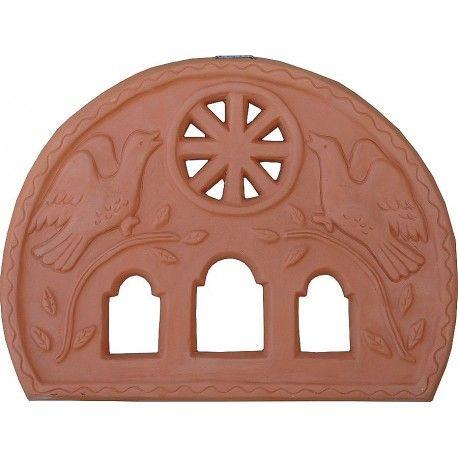 "Fanlight-Window 38x27 (Yperthyro) ""song to the Lord"" terracotta, handmade by Tinos-Ceramics"