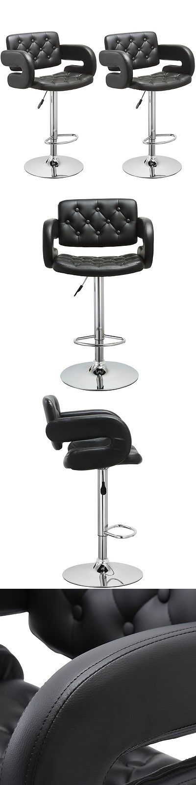 furniture: Set Of 2 Pu Leather Swivel Bar Stools Hydraulic Pub Chair Adjustable Black New -> BUY IT NOW ONLY: $94.99 on eBay!