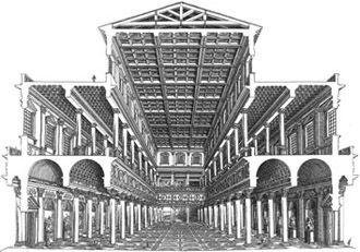 Ricostruzione della Basilica Ulpia, la cui costruzione fu voluta da Traiano. Consisteva in un prolungamento del Foro ed era utilizzata in caso di brutto tempo. Ai lati erano presenti due esedre, strutture semicircolari per i tribunali.