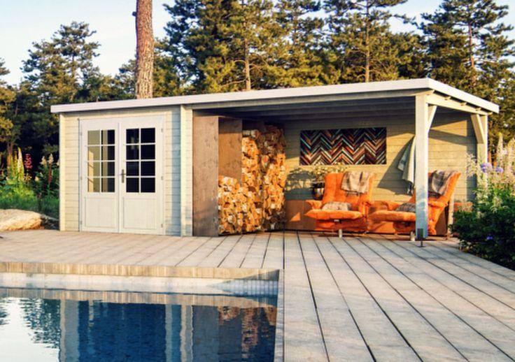 Hay muchas formas de disfrutar del jardín. Caseta de madera Palmako, techado a un agua con porche lateral.