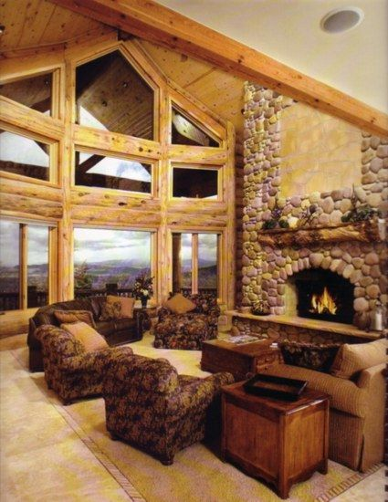 Log home interior pictures yellowstone log homes are for Elegant log homes