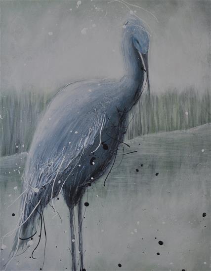 Orange Art Gallery - Julie Berthelot - Blue Heron. Purchase Online. Art. Urban Nature. Painting. Bird.