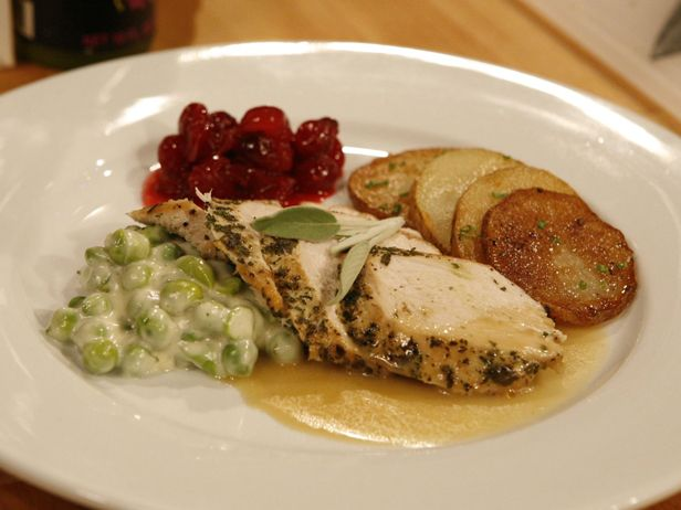 Robert Irvine's Herbed Turkey Breast in Gravy with Creamed English Peas and Cranberry Compote #ThanksgivingFeast