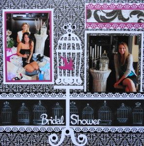 Shabby Chic Bridal Shower scrapbook page with the title Bridal Shower from Cricut's Sweethearts