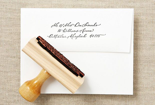 Custom calligraphy return address stamp from onekingslane