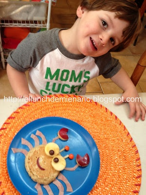 ..so happy with his food... Fun food snack for kids