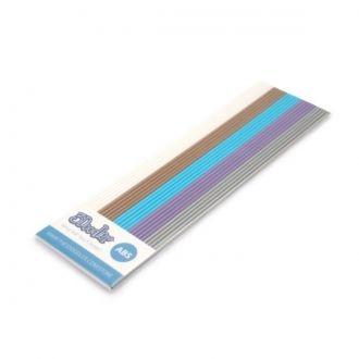 Zestaw 25 sztuk dodatkowych wkładów z plastiku ABS do długopisu 3Doodler w kolorze białym, brązowym, niebieskim, fioletowym i srebrnym.
