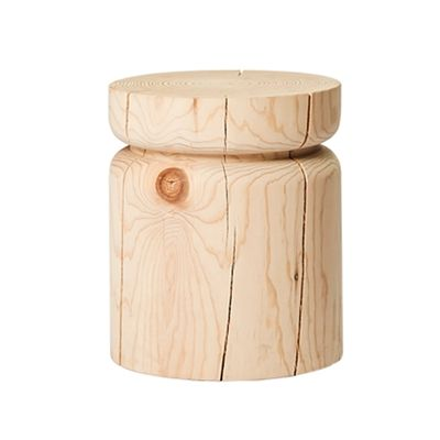 MARK TUCKEY belt 1 side table. a solid block of radiata pine hand turned on a lathe into a simple form with one indented ring. Design: Louella Tuckey