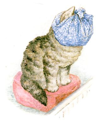 Beatrix Potter ~ The Story of Miss Moppet - Miss Moppet ties up her head in a duster, and sits before the fire.