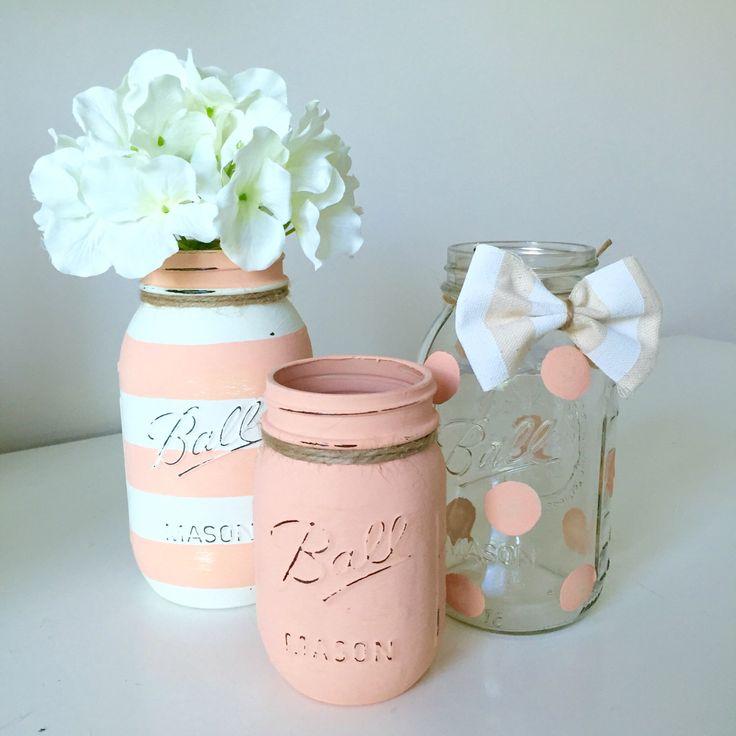Baby Shower Mason Jar Decor. Baby Girl Shower. Baby Boy Shower. Peach  Painted