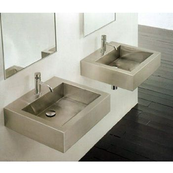 Bathroom Sinks - Stainless Steel Square Vessel Bathroom Sink By Cantrio Koncepts | KitchenSource.com $556