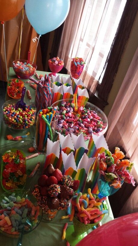 Best rainbow candy buffet ideas on pinterest