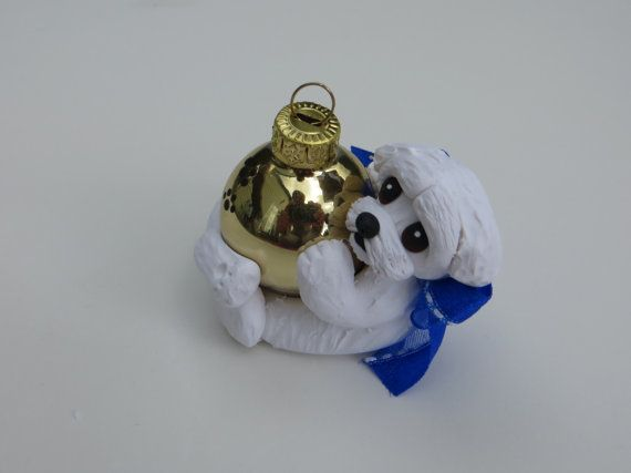 Maltese Dog Christmas Ornament Polymer Clay by HeartOfClayGirl