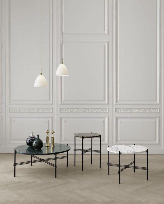 TS tables – small – brown marble, medium – white marble, large – black marble_ Bestlite BL9M pendants – matt white-brass-800×800