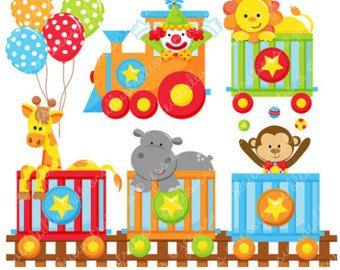 Tren circo etiquetas lindo gráfico Digital OK por JWIllustrations                                                                                                                                                     Más
