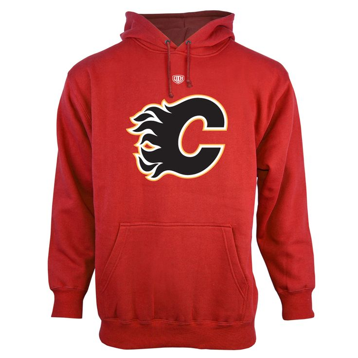 Mens Calgary Flames Old Time Hockey Red Big Logo with Crest Pullover Hoodie