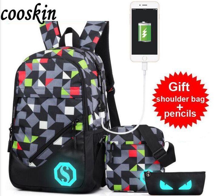 Male Middle School Student Luminous Bag Fashion Fashion USB Interface Charge Backpack Leisure Travel Bag (Shoulder Bag +Pen Bag)