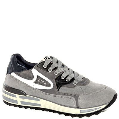 #Sneaker allacciata in camoscio grigio e pelle nera
