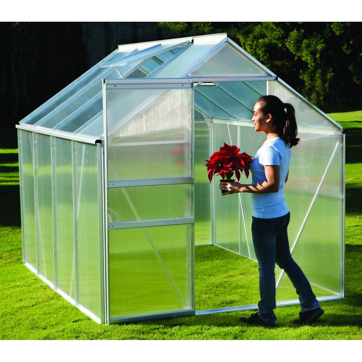 "GREENHOUSE :: 6 Ft. x 8 Ft. Greenhouse :: $399.99, Sale $299.99 | harborfreight.com :: [98.5""l, 75.875""w, 77""h; Door opening: 23"" x 20""; 77.10 lbs] Sliding door, roof vent for climate control, durable/all-weather aluminum frame, UV coated polycarbonate panels for sunlight diffusion:: Perfect budget greenhouse for a backyard. 