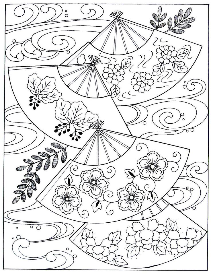 japanese fans and waves japanese coloring book printable page - Japanese Coloring Book