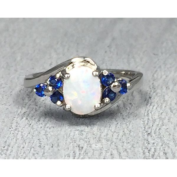 White fire opal stone blue sapphire CZ 925 sterling silver curved band... ($29) ❤ liked on Polyvore featuring jewelry, rings, engagement rings, opal rings, fire opal ring, white opal rings and cz engagement rings