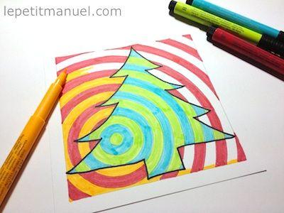 Dessiner son sapin de Noël en Op-Art // Paint your Op-Art Christmas tree @ Le Petit Manuel